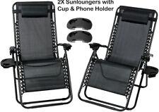 Reclining Garden Chairs Zero Gravity x2 Sun Lounger Portable W/Phone Cup Holder