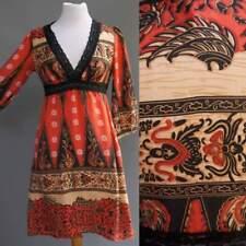 100% Silk Bohemian Tribal India Paisley Dress Boho Red Black Tan Maharaja Sz M