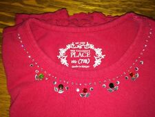 Childrens Place Girls Red Long Sleeved Shirt  / Top w/ Jeweled Collar Size 7/8