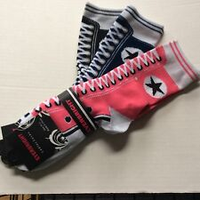 3 PAIRS LADIES SNEAKER NOVELTY SOCKS*LIKE AN OLD FASHIONED SNEAKER *PINK/NVY/BLK