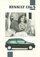 Renault Clio S 1.4 3 Door UK Market Brochure January 1992 Includes Specs Info