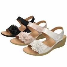 Cushion-Walk Open Toe Wedge Heel Comfort Sandals Snake Print Flower Flexible