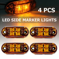 4pcs 2LED Side Marker Tail Light Yellow Lamp Truck Van Trailer Boats Universal