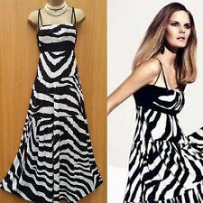 Vestido de verano Reino Unido 10 Karen Millen Negro Blanco Zebra Print Jersey Gypsy Largo Maxi
