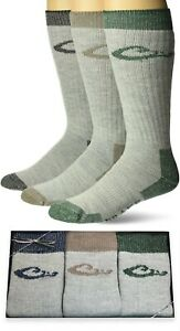 Drake Mens Merino Wool Warm Thermal Full Cushion Boot Crew Socks Gift Box 3 Pair