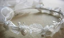 Ivory flower girl wreath halo headpiece with long ribbons