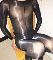 8D Men's Super Shiny High Glossy Penis Sheath Bodystocking Sheer Bodysuit Tights