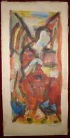 Marzelle Jean gouache signée abstraction art abstrait artiste Ecole de Puteaux