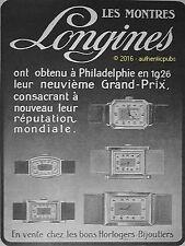 PUBLICITE LONGINES MONTRE FRAND PRIX PHILADELPHIE DE 1927 FRENCH AD ADVERT PUB