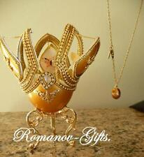 Russian Imperial Monarch Butterfly Gold Music Box Egg with Egg Necklace