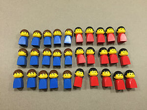 HUGE LOT OF 30 Lego Old Style Minifigures minifigs Red Blue Lot P239