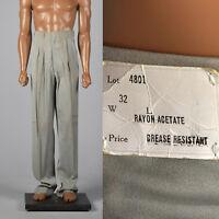 Medium 1950s Deadstock Gray Gabardine Mens Pants VTG Hollywood Waist Rockabilly