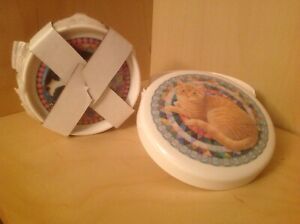 LOVELY CLOVERLEAF SET OF 6 COASTERS IN ORIGINAL BOX CAT DESIGNS ROUND SHAPED