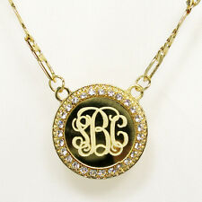 Circle Monogram Necklace Gold Plated 1.2″ Personalized Initial Name Pendant