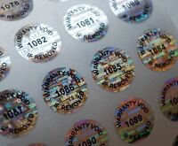 100 ROUND HOLOGRAM WARRANTY VOID SECURITY LABELS STICKERS SEALS W/ NUMBER