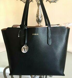 FURLA Black Onyx Saffiano Leather Tote Dust Bag NEW
