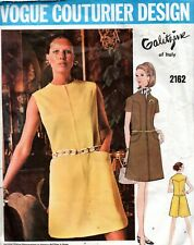 1960s Vogue Couturier Sewing Pattern 2162 Galitzine Misses One-Piece Dress Sz 14