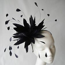 Black Feather Fascinator for Weddings, Races and Proms