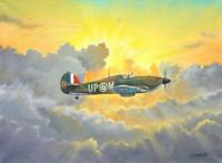 FANTASTIC ORIGINAL WW2 MILITARY AVIATION ART PAINTING WWII HURRICANE AT SUNSET