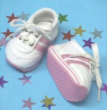 Pink Stripes Sneakers for 18 inch Doll Shoes Clothes American Girl or Bitty Baby
