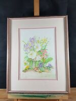 BUNCH OF FLOWERS STILL LIFE WATERCOLOR SIGNED N. OR M. HARTLEY