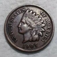 1907 Indian Head Penny. Full Liberty. Old Historical United States Coin.