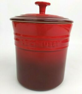 """Le Creuset Stoneware Small Canister w/Lid 2.5 QT 8.5"""" Tall Cerise Red NWT Rare"""