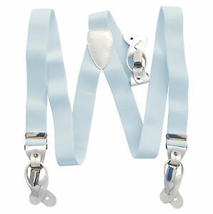 New in box Men's Suspender light blue Braces elastic clips buttons casual