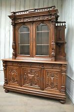 2201044 : Antique French Renaissance Buffet w/ Display Cabinet Sideboard