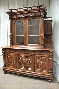 Antique French Renaissance Buffet w/ Display Cabinet Sideboard