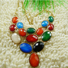 1 string multicolour acrylic Rhinestone Faceted Gems & alloy Necklace ZH77