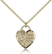 "Gold Filled Saint Michael The Archangel Heart Medal Necklace For Women 18"" Chain"