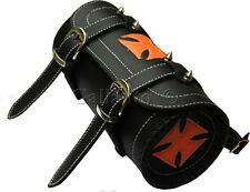 Gothic Motorcycle Biker Leather Tool Rool Black Bag with Orange Iron Cross