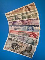 Lot-Bank Of Mexico (7) Notes. 5,10,20,50,100,500,1000 Pesos. Brilliant UNC!