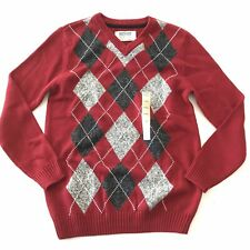 Urban Pipeline Boys XL Sweater Holiday 18 20 Knit Argyle Red V Neck Cotton New