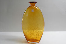 "AMICI ITALIAN BUBBLE ART AMBER GLASS BOTTLE 9.5"" BUD VASE WITH TRUMPET MOUTH"