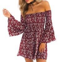Boho Womens Off-shoulder Beach Casual Summer Floral Print Short Mini Party Dress