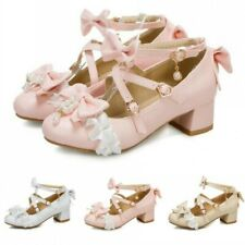 Women's Chunky Heel Mary Janes Bowknot Shoes Sweet Girls Lolita Princess Shoes D