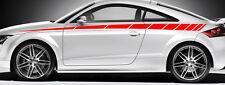 2 X BANDES GRAPHIQUE POUR AUDI BMW STREET RACING AUTOCOLLANT STICKER BD518 ROUGE
