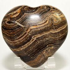 6.9cm Stromatolite Puffy Cuore Intagliato Alghe Fossile Marrone Pietra - Perù