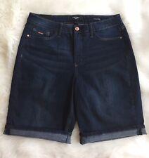 Nine West NWT Casual High Rise Bermuda Rolled Blue Dark Wash Jean Shorts Size 10