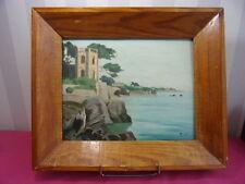 PEINTURE SUR PANNEAU Paysage bord de mer signée MOX (?)  38x32cm