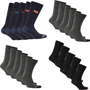 Superdry Mens Crew Socks Organic Cotton 5 Pack City Sock Black Navy Size