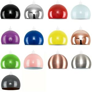 Metal Dome Light Shades Retro Modern Ceiling Pendant Lampshades Various Colours