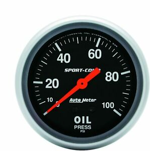 Auto Meter Sport-Comp Mechanical Oil Pressure Car Gauge Meter Regular 3421 NEW