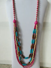 BOHEMIAN HIPPY MULTI COLOUR 5 STRAND WOOD BEAD CORD NECKLACE pink teal New pouch
