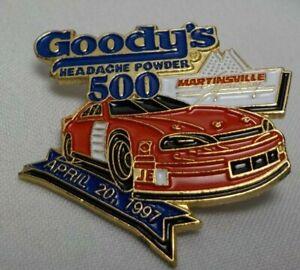GOODYS 500 HEADACHE POWER NASCAR MARTINSVILLE Speedway Pinback Lapel Pin 1997