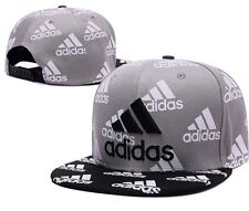 Embroidered Adidas 3 Stripes Snapback Flat Cap Grey/Black : One Size Fits Most