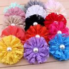 30pcs 7cm Frayed Mesh Lace Artificial Fabric Flower With Pearl Hair Accessories