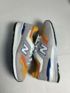 New Balance 997 Made In USA Sneaker Shoes Men's Size 8.5 Grey Orange M997PT
